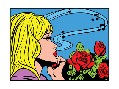 comic-book like drawing of blonde girl resting her chin in her hand, thinking about music, next to a bunch of red roses