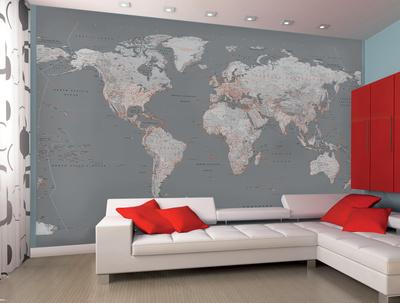 Contemporary Grey World Map Wallpaper Mural College Wallpaper Mural