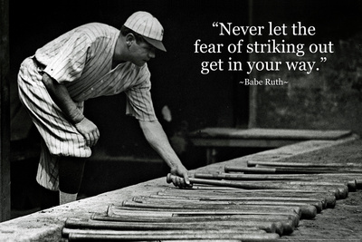 Babe Ruth Striking Out Famous Quote Plastic Sign Plastic Sign