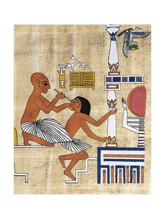 two ancient Egyptian men; the one on the left is performing eye surgery with a long thin rod on the man on the right, other equipment is visible