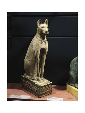Plastered and Painted Wood Sarcophagus of a Cat.