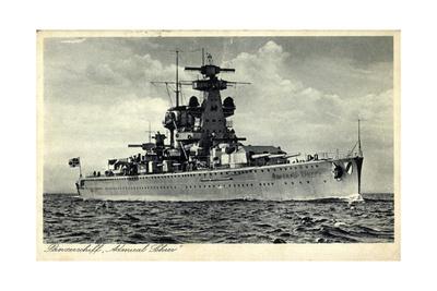 Deutsches Kriegsschiff Admiral Scheer in Fahrt