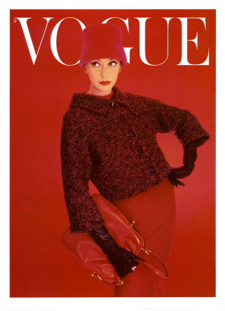 Vogue Cover, Red Rose, August 1956 Posters