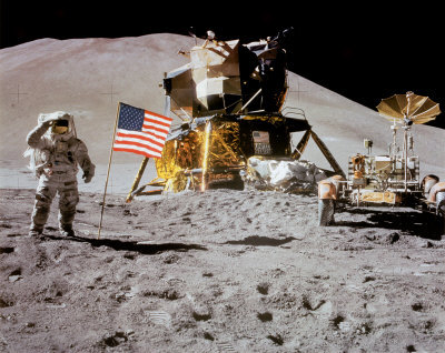 NASA - Astronaut,Rover,Flag On Moon  - ©Spaceshots