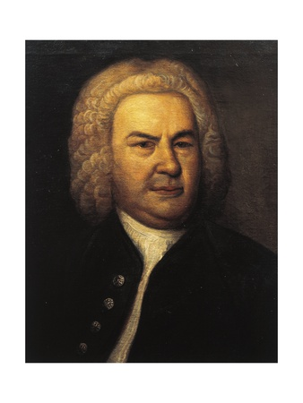 Bach in powdered wig and open black jacket with buttons on his right, white shirt