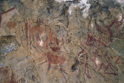 Human and Animal Figures, Bushmen or San Cave Paintings, Maloti-Drakensberg Park