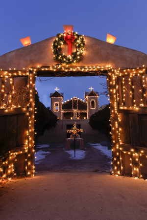 Chimayo, New Mexico, Usa. Santurario De Chimayo Lit Up for Christmas