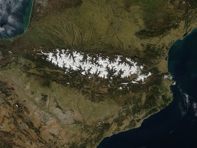 Satellite View of the Pyrenees Mountains