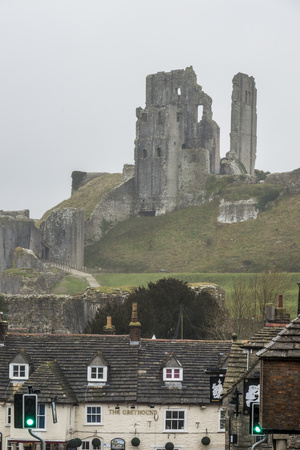 The Ruins of Corfe Castle Above Corfe, Dorset, England