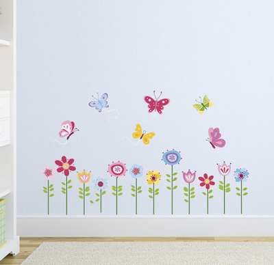 Bright Butterfly Garden Wall Decal
