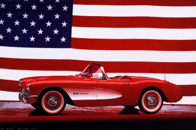 Buy Corvette, 1957 with U.S. Flag at AllPosters.com