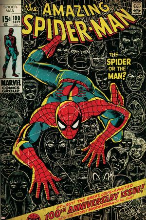 Marvel Comics Retro: The Amazing Spider-Man Comic Book Cover No.100, 100th Anniversary Issue (aged) Comic Books Poster