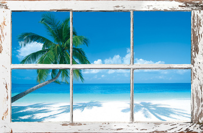 Tropical Beach Window Art Poster
