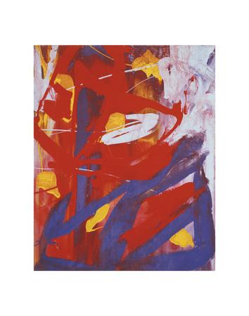 Abstract Painting, c. 1982 (indigo, red, white) Art Print
