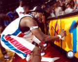 Ben Wallace Celebrating 2004 NBA Championship by Spray Painting  ©Photofile