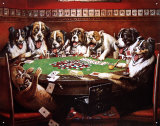 Eight Dogs Playing Cards Tin Sign