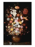 A Crown Imperial, a Peony and Other Flowers in a Wooden Tub with Butterflies and Beetles,