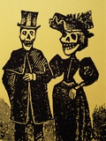 Detail Showing Skeletal Couple from El Gran Paneon Amoroso by Jose Guadalupe Posada