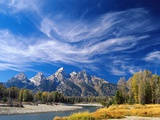 Cirrus Clouds over Teton Range and Snake River Photographic Print