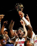 Ben Wallace Raising 2004 NBA Championship Trophy