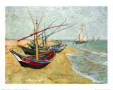 Fishing Boats on the Beach at Saints-Maries, c.1888 Art Print