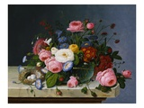 Still Life: Flowers on a Marble-Topped Table