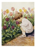 Illustration of a Child Smelling Tulips by Jessie Willcox Smith