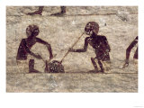 Glass Blowers, Detail from a Tomb Wall Painting, Egyptian, Old - Middle Kingdom (Painted Limestone)