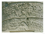 The Roman Army Crossing the Danube, Detail from Trajan's Column, 113 AD (Limestone)