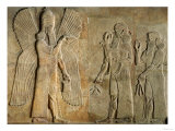 Frieze of a Winged Spirit, Sargon or Priest Carrying a Gazelle and Worshipper Carrying a Poppy Stem