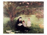 Beneath the Lilac at Maurecourt, 1874 Giclee Print