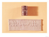 Akkadian Cylinder Seal and Impression of Shar-Kali-Sharri (circa 2217-circa 2193 BC) King of Akkad