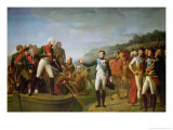 Farewell of Napoleon I (1769-1821) and Alexander I (1777-1825) after the Peace of Tilsit