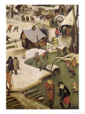 The Census at Bethlehem, Detail of Children Playing on the Frozen River