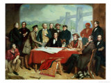 Conference of Engineers at Britannia Bridge, circa 1850