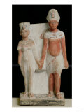 Statuette of Amenophis IV (Akhenaten) and Nefertiti, from Tell El-Amarna, Amarna Period New Kingdom