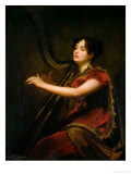 The Marchioness of Northampton, Playing a Harp, circa 1820