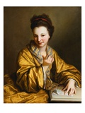A Young Lady, Wearing a Yellow Robe, Seated at a Table, Beckoning