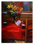 Flowers and Teapot on Red