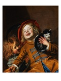 Laughing Children with a Cat