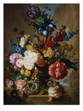 Poppies, Peonies and Other Assorted Flowers in a Terracotta Vase on a Stone Plinth with a Bird's Ne