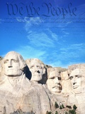 Preamble to US Constitution Above Mount Rushmore