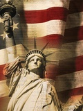 Statue of Liberty and American Flag Photographic Print