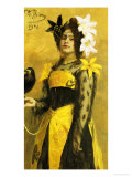 Portrait of a Lady in a Yellow and Black Gown Adorned with Lilies Holding a Black Bird, 1901