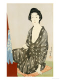 A Beauty in a Black Kimono with White Hanabishi Patterns Seated Before a Mirror