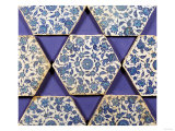 Seven Iznik Blue and White Hexagonal Pottery Tiles, circa 1540