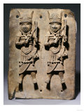 A Benin Bronze Plaque with Two Relief Figures, circa 1600
