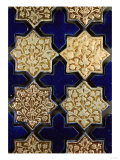 A Panel of Kashan Lustre Stellar and Cobalt Cruciform Tiles, 13th Century