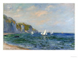 Cliffs and Sailboats at Pourville Art Print