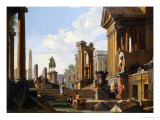 Capriccio of Classical Ruins with a Statue of Marcus Aurelius,The Temple of Saturn